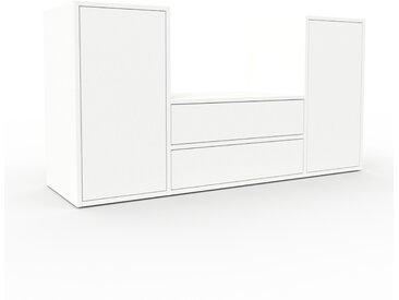 Meuble TV - Blanc, design, meuble hifi, multimedia, avec porte Blanc et tiroir Blanc - 154 x 80 x 47 cm