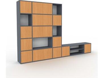 Bibliothèque murale - Anthracite, modèle moderne, étagère, avec porte Hêtre - 306 x 195 x 35 cm, modulable