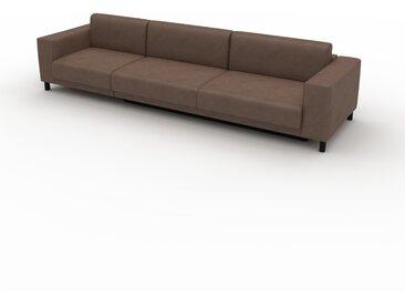 Canapé en cuir - Marron café Cuir Végan, lounge, esprit club ou cosy avec toucher chaleureux, 328x 75 x 98 cm, modulable
