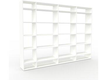 Bibliothèque - Blanc, design, étagère pour livres, sophistiquée, ouverte et fonctionelle - 265 x 195 x 35 cm, personnalisable