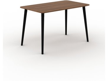 Bureau scandinave - Noyer, design moderne, table de travail nordique, avec pieds inclinés et épurés - 120 x 75 x 70 cm, modulable