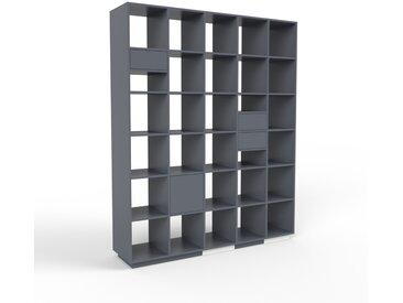 Système d'étagère - anthracite, design, rangements, avec porte anthracite et tiroir anthracite - 195 x 239 x 47 cm