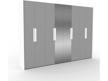 Dressing - Gris/Miroir, design, armoire penderie pour chambre ou entrée, à portes battantes - 324 x 233 x 62 cm, modulable