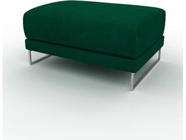 Pouf en velours - Vert de forêt, design épuré, 80 x 42 x 60 cm, modulable