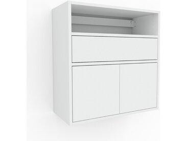 Étagère murale - Blanc, combinable, placard, avec porte Blanc et tiroir Blanc - 77 x 80 x 35 cm