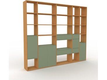 Bibliothèque - Chêne, design contemporain, avec porte Vert de gris et tiroir Vert de gris - 267 x 233 x 35 cm