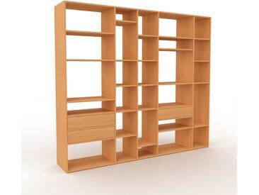 Système d'étagère - Hêtre, modulable, rangements, avec tiroir Hêtre - 267 x 233 x 47 cm