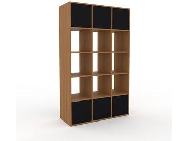 Range CD - Chêne, contemporain, meuble pour vinyles, DVD, avec porte Noir - 118 x 195 x 47 cm, modulable