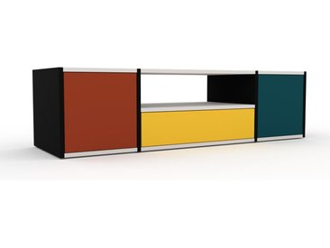 Meuble TV - Terra cotta, design, meuble hifi, multimedia, avec porte Terra cotta et tiroir Jaune - 154 x 41 x 47 cm