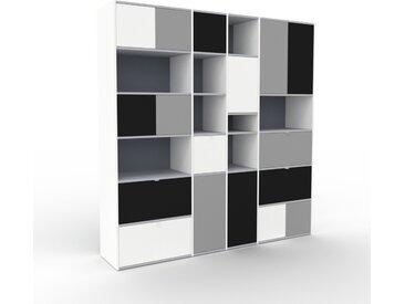 Bibliothèque - Anthracite, design contemporain, avec porte Gris et tiroir Blanc - 229 x 234 x 47 cm