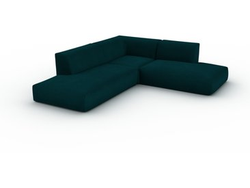Canapé en U Velours - Bleu Pétrole, design arrondi, canapé d'angle panoramique, grand, bas et confortable - 241 x 72 x 267 cm, modulable