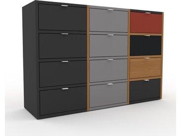 Commode - Graphite, pièce de caractère, sophistiquée, avec tiroir Graphite - 118 x 80 x 35 cm, personnalisable