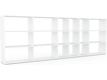 Système d'étagère - Blanc, design contemporain, rangements de qualité, modulables - 342 x 118 x 35 cm, personnalisable