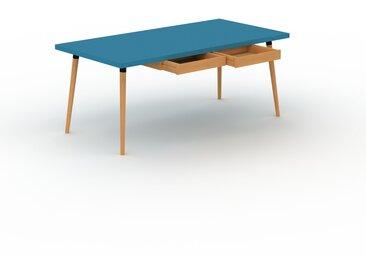 Bureau scandinave - Bleu, design moderne, table de travail nordique, avec pieds inclinés et épurés - 180 x 75 x 90 cm, modulable