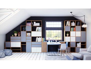 Bibliothèque - Chêne, design contemporain, avec porte Blanc et tiroir Gris - 306 x 233 x 35 cm