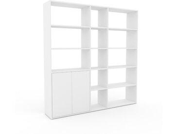 Système d'étagère - Blanc, modulable, rangements, avec porte Blanc - 190 x 195 x 35 cm