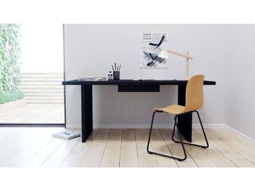 Bureau - noir, moderne, table de travail, avec tiroir noir - 180 x 75 x 90 cm, modulable