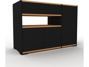 Table de chevet - noir, moderne, table de nuit, avec porte noirs et tiroir noir - 116 x 81 x 47 cm