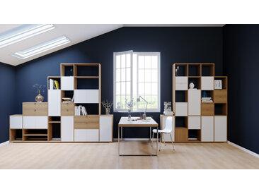 Bibliothèque murale - Chêne, combinable, étagère, avec porte Blanc et tiroir Chêne - 306 x 233 x 35 cm