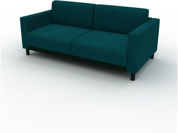 Canapé d'angle Velours - Bleu Pétrole, design épuré, canapé en L ou angle, élégant avec méridienne ou coin - 184 x 75 x 98 cm, modulable