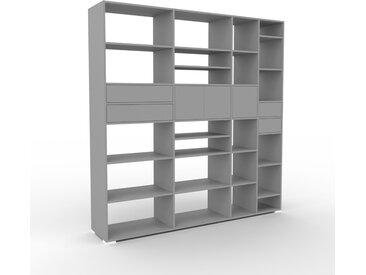 Système d'étagère - gris, design, rangements, avec porte gris et tiroir gris - 229 x 235 x 47 cm