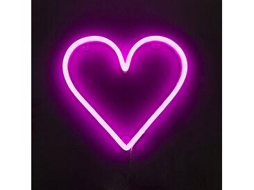 Applique rose avec télécommande avec LED - Coeur néon