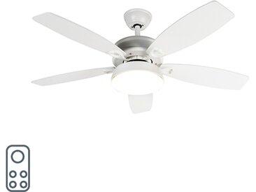 Ventilateur de plafond design blanc avec LED avec télécommande - Malaki