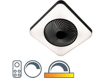 Ventilateur de plafond carré noir avec LED dimmable - Climo
