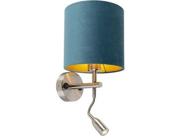 Applique acier avec lampe de lecture et abat-jour velours 20/20/20 bleu
