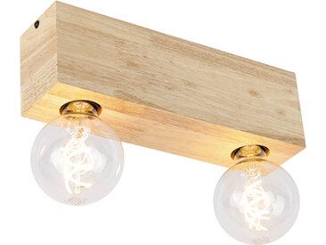 Spot de plafond rural bois 2 lumières - Bloc