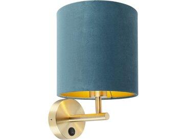 Applique étroite or avec abat-jour en velours bleu - Matt