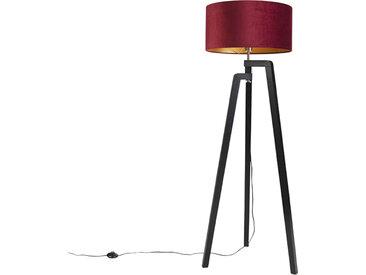 Lampadaire trépied noir avec abat-jour rouge et or 50 cm Puros