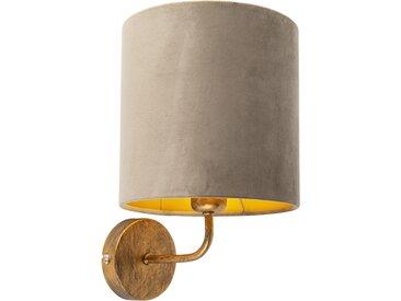 Applique vintage doré avec abat-jour en velours taupe - Mat