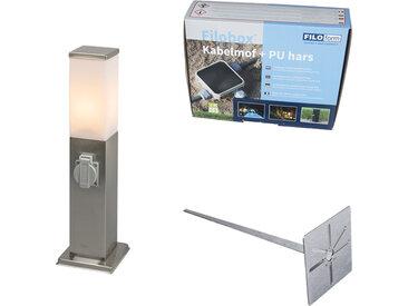 Lampe d'extérieur en acier avec douille IP44- Malios avec broche de terre et gaine de câble