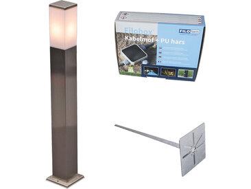 Lampe d'extérieur acier 80cm IP44 - Malios avec broche de terre et gaine de câble