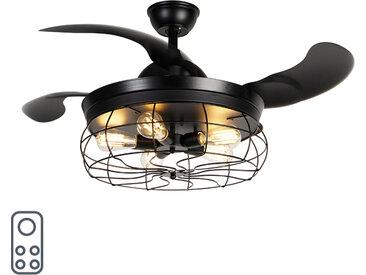 Ventilateur de plafond noir 5 lumières avec télécommande - Gaiola