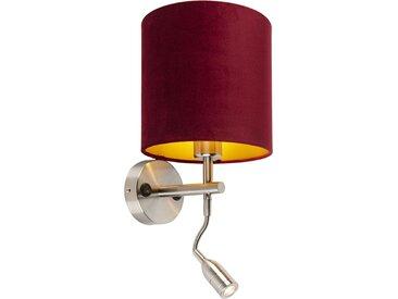Applique acier avec lampe de lecture et abat-jour velours 20/20/20 rouge