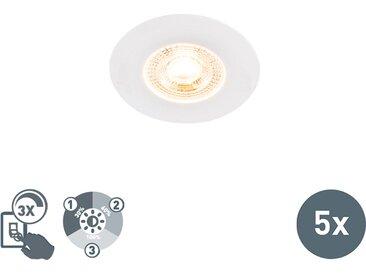Lot de 5 spots à encastrer blanc à 3 gradations dimmable - Ulo
