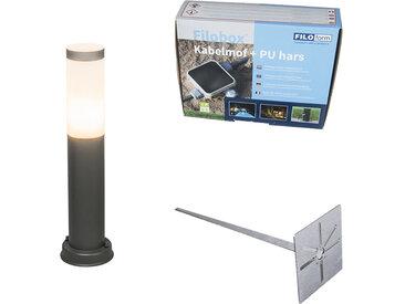 Lampadaire d'extérieur anthracite 45 cm IP44 - Rox avec broche de terre et gaine de câble