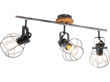 Spot de plafond industriel en acier avec bois 62 cm 3 lumières - Torce