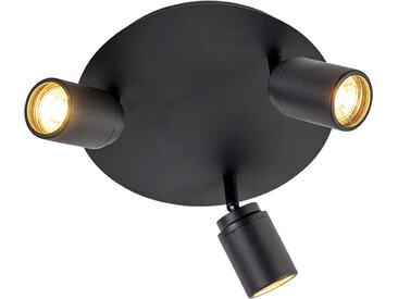 Spot de salle de bain moderne 3 lumières noir IP44 - Ducha