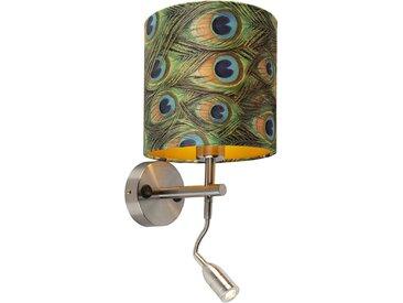 Applique moderne en acier avec lampe de lecture et abat-jour velours 20/20/20 paon - doré