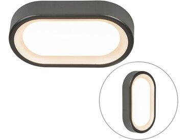 Lampe d'extérieur ovale moderne gris foncé avec LED - Ginny