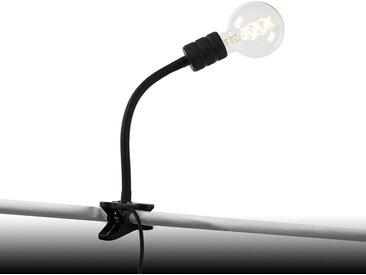 Lampe à pince moderne noire avec bras flexible - Cavalux