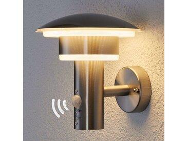 Lampe d'extérieur ronde en acier inoxydable avec détecteur de mouvement avec LED - Lillie