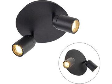 Spot de salle de bain moderne noir 2 lumières IP44 - Ducha