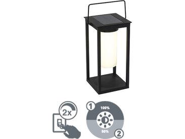 Lampe d'extérieur moderne noire avec LED et variateur solaire - Denlu