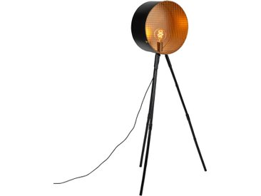 Lampadaire vintage sur trépied en bambou noir avec or - Canon