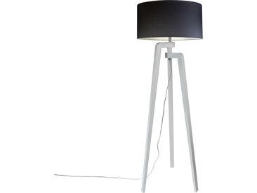 Lampadaire trépied blanc avec abat-jour 50 cm noir - Puros