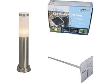 Lampadaire d'extérieur acier 45 cm IP44 - Rox avec broche de terre et gaine de câble